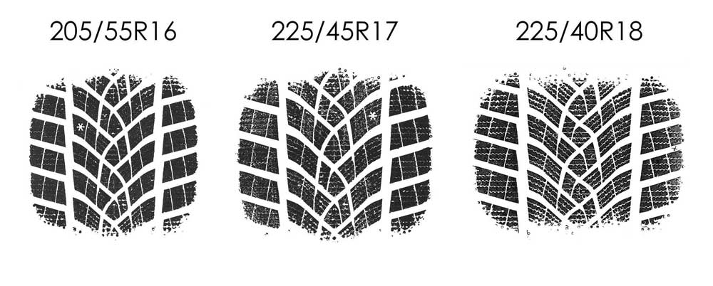 16, 17 and 18 inch winter tyre footprints
