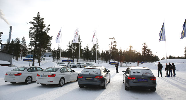 The goodyear testing team in northern Finland for snow and ice testing
